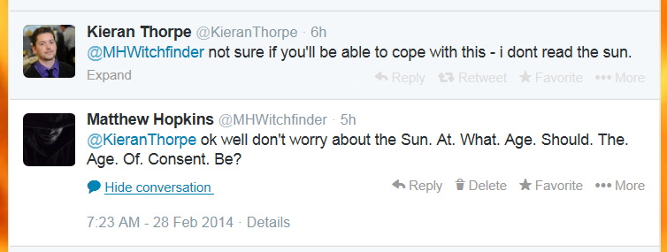 Councillor Kieran Thorpe does not read the Sun