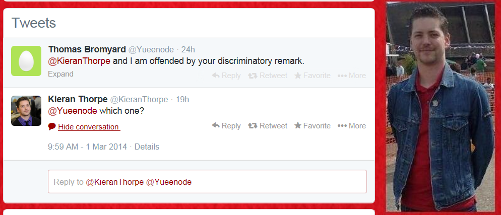 Kieran Thorpe is confronted by an offended member of the public on Twitter.
