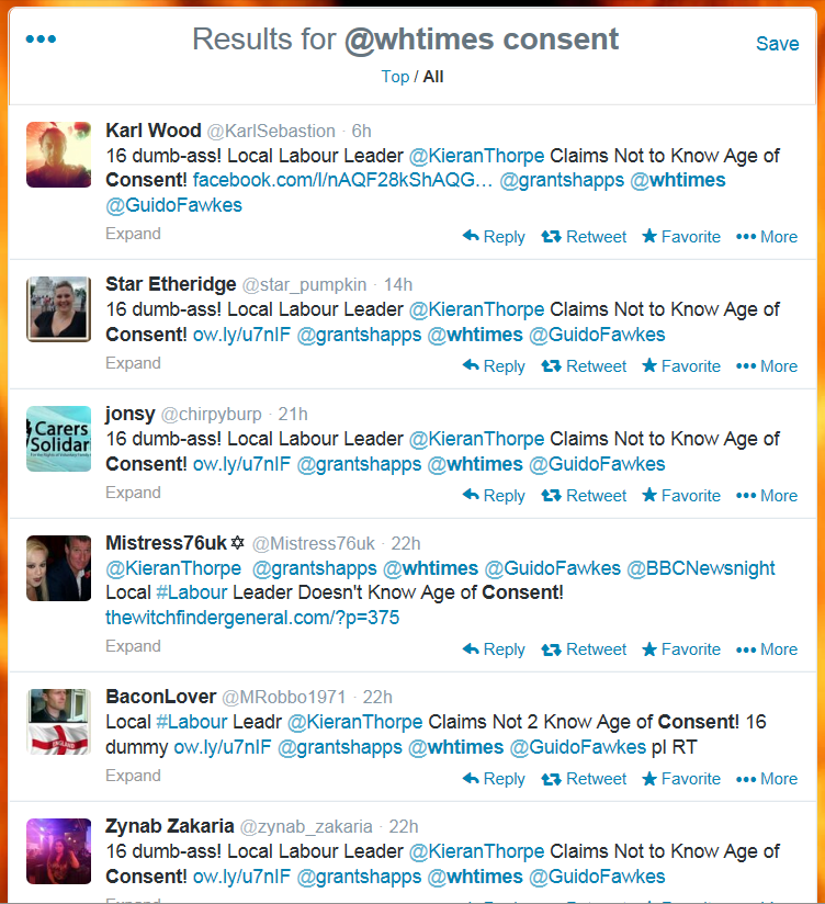 Many complaints about Councillor Kieran Thorpe on Twitter.