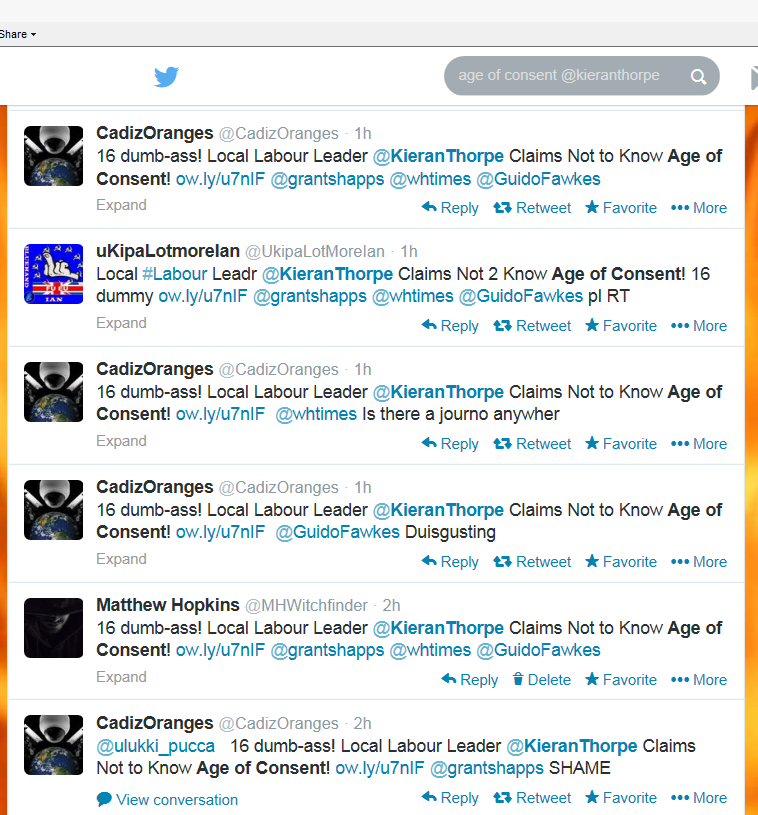Many more complaints about Councillor Kieran Thorpe on Twitter.